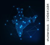 india map glowing silhouette... | Shutterstock .eps vector #1140641684
