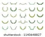 set of green silhouette laurel... | Shutterstock .eps vector #1140648827