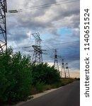 high voltage power lines | Shutterstock . vector #1140651524