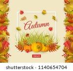 autumn sale poster template... | Shutterstock .eps vector #1140654704