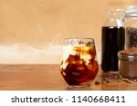 a glass of homemade cold cold... | Shutterstock . vector #1140668411
