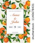 tropical wedding invitation... | Shutterstock .eps vector #1140678431