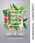 tropical hawaiian wedding... | Shutterstock .eps vector #1140678527