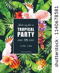 tropical hawaiian party... | Shutterstock .eps vector #1140678581