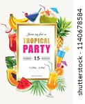 tropical hawaiian party... | Shutterstock .eps vector #1140678584