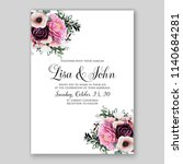 floral maroon ranunculus pink... | Shutterstock .eps vector #1140684281