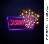 neon casino icon isolated on... | Shutterstock .eps vector #1140690674