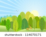 abstract green trees  and... | Shutterstock .eps vector #114070171