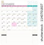 french calendar 2019   december ...   Shutterstock .eps vector #1140701837