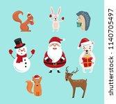 set of cute christmas... | Shutterstock .eps vector #1140705497