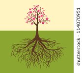 card with floral tree vector... | Shutterstock .eps vector #114070951