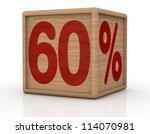 one wooden cube with the number sixty and the percent symbol (3d render) - stock photo