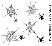 set of halloween black spider... | Shutterstock .eps vector #114072271