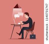 ridiculous caricature man...   Shutterstock . vector #1140731747