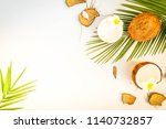 summer flat lay scene with palm ... | Shutterstock . vector #1140732857