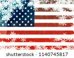 usa flag snowflake background | Shutterstock . vector #1140745817