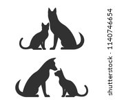 silhouettes of dog and cat ... | Shutterstock . vector #1140746654