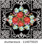 illustration with red roses... | Shutterstock .eps vector #114075025