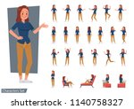 set of woman wear blue jeans... | Shutterstock .eps vector #1140758327