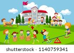 kids playing at school... | Shutterstock .eps vector #1140759341