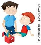 a soccer player injured leg... | Shutterstock .eps vector #1140759407