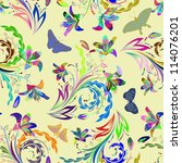 seamless vector floral pattern. ... | Shutterstock .eps vector #114076201