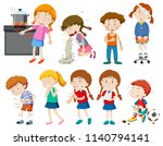 set of sick and injured... | Shutterstock .eps vector #1140794141