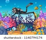 scuba diver diving in beautiful ... | Shutterstock .eps vector #1140794174