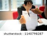 hands of businesswoman ripping... | Shutterstock . vector #1140798287