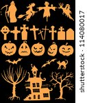 set of halloween silhouettes | Shutterstock .eps vector #114080017