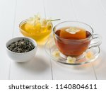 honey  herbal tea and jasmine... | Shutterstock . vector #1140804611