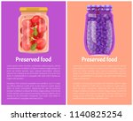 preserved food posters tomatoes ... | Shutterstock .eps vector #1140825254