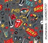 rock elements seamless pattern. ... | Shutterstock .eps vector #1140825737