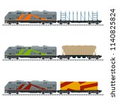 locomotive with cargo container ...   Shutterstock .eps vector #1140825824