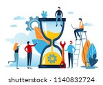 miniature people with big clock ... | Shutterstock .eps vector #1140832724