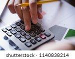 close up hand of businesswoman... | Shutterstock . vector #1140838214