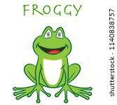 a green smily frog is sitting ... | Shutterstock .eps vector #1140838757