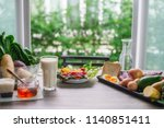 healthy eating and cooking on... | Shutterstock . vector #1140851411