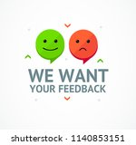 we want feedback card... | Shutterstock .eps vector #1140853151