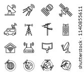 orbit satellite icons set with... | Shutterstock .eps vector #1140855611