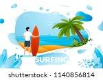 vector illustration   surfing... | Shutterstock .eps vector #1140856814