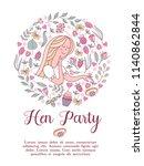invitation to the bachelorette... | Shutterstock .eps vector #1140862844