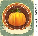 pumpkin label with scroll for... | Shutterstock .eps vector #114086311