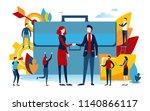 handshake of business people.... | Shutterstock .eps vector #1140866117