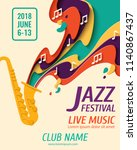 jazz festival   music paper cut ... | Shutterstock .eps vector #1140867437