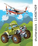 the car and the flying machine  ... | Shutterstock . vector #114087409