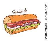 hand drawn illustration of... | Shutterstock .eps vector #1140874724