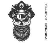 skull in the policeman hat.... | Shutterstock .eps vector #1140894911
