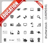 illustration of set of simple education icon - stock vector