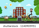 man on bicycle with building on ... | Shutterstock .eps vector #1140905951